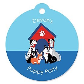 Pawty Like a Puppy - Round Personalized Dog Party Tags - 20 ct