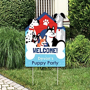 Pawty Like a Puppy - Party Decorations - Dog Baby Shower or Birthday Party Personalized Welcome Yard Sign