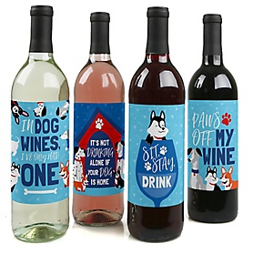 Pawty Like a Puppy - Dog Birthday Party Decorations for Women and Men - Wine Bottle Label Stickers - Set of 4