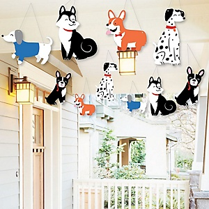 Hanging Pawty Like a Puppy - Outdoor Dog Baby Shower or Birthday Party Hanging Porch and Tree Yard Decorations - 10 Pieces