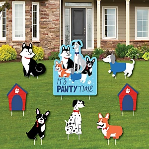 Pawty Like a Puppy - Yard Sign and Outdoor Lawn Decorations - Dog Baby Shower or Birthday Party Yard Signs - Set of 8