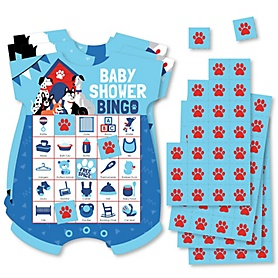 Pawty Like a Puppy - Picture Bingo Cards and Markers - Dog Baby Shower Shaped Bingo Game - Set of 18
