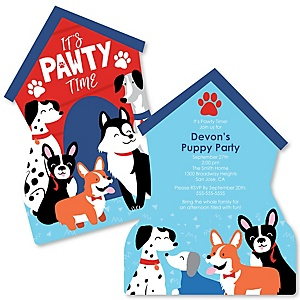 Pawty Like a Puppy - Shaped Dog Baby Shower invitations - Set of 12