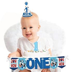 Pawty Like a Puppy 1st Birthday - First Birthday Boy Smash Cake Decorating Kit - High Chair Decorations