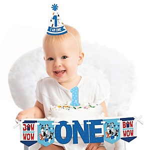 Pawty Like a Puppy 1st Birthday - First Birthday Boy Smash Cake Decorating Kit - High Chair Decorations
