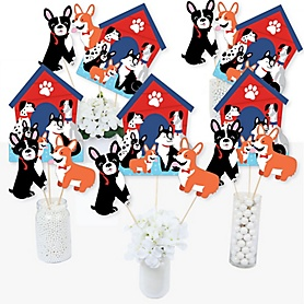 Pawty Like a Puppy - Dog Baby Shower or Birthday Party Centerpiece Sticks - Table Toppers - Set of 15