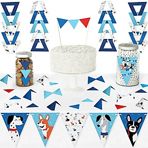 Pawty Like a Puppy - DIY Pennant Banner Decorations - Dog Baby Shower or Birthday Party Triangle Kit - 99 Pieces