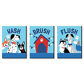 Pawty Like a Puppy - Kids Bathroom Rules Wall Art - 7.5 x 10 inches - Set of 3 Signs - Wash, Brush, Flush