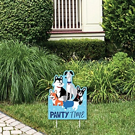 Pawty Like a Puppy - Outdoor Lawn Sign - Dog Baby Shower or Birthday Party Yard Sign - 1 Piece