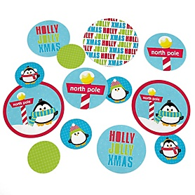 Holly Jolly Penguin - Personalized Holiday & Christmas Party Table Confetti - 27 ct