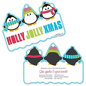 Holly Jolly Penguin - Shaped Holiday & Christmas Party Invitations - Set of 12