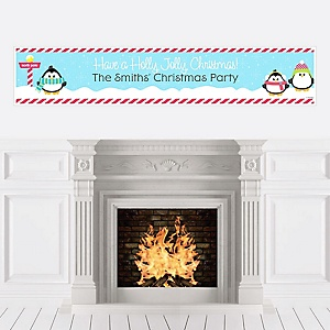 Holly Jolly Penguin - Personalized Holiday & Christmas Party Banners