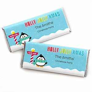 Holly Jolly Penguin - Personalized Candy Bar Wrappers Holiday & Christmas Party Favors - Set of 24