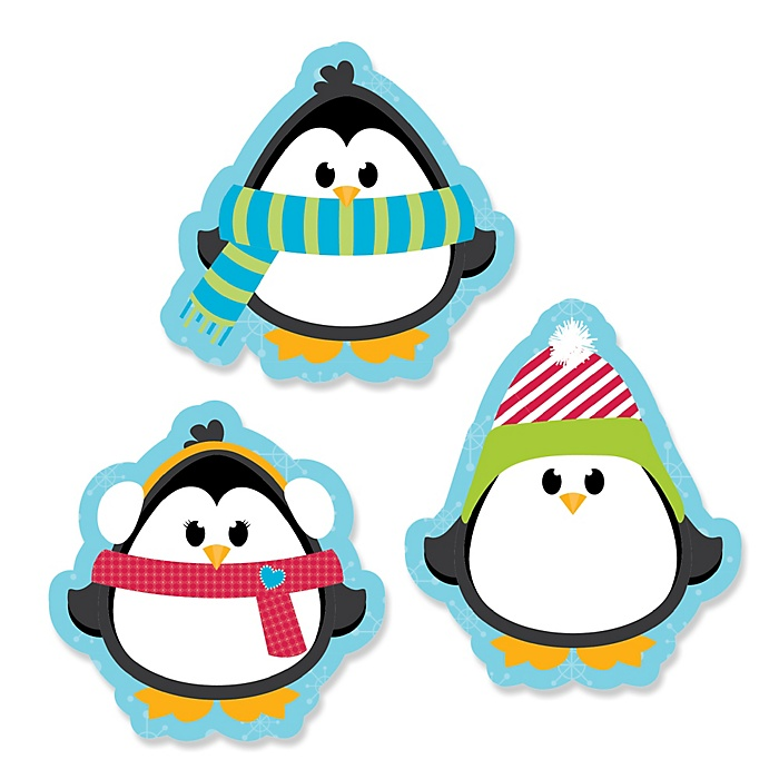Holly Jolly Penguin - DIY Shaped Holiday & Christmas Party Paper Cut-Outs - 24 ct