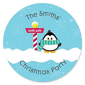 Holly Jolly Penguin - Holiday & Christmas Party Sticker Labels - 24 ct