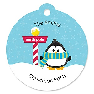 Holly Jolly Penguin - Holiday & Christmas Party Tags - 20 ct