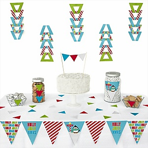 Holly Jolly Penguin -  Triangle Holiday & Christmas Party Decoration Kit - 72 Piece