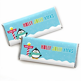 Holly Jolly Penguin -  Candy Bar Wrappers Holiday & Christmas Party Favors - Set of 24