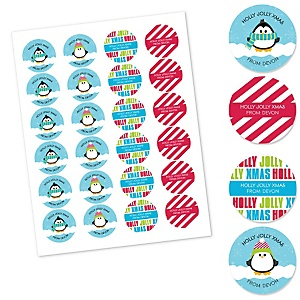 Holly Jolly Penguin - Assorted Holiday & Christmas Party Sticker Pack - Set of 24