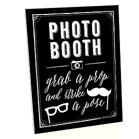 Photo Booth Sign - Printed on Sturdy Plastic Material - 10.5 x 13.75 inches - Sign with Stand - 1 Piece