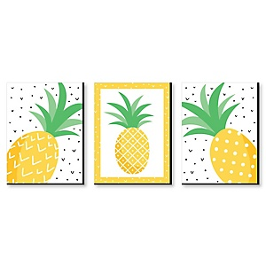 Tropical Pineapple - Nursery Wall Art, Kids Room Decor and Summer Home Decorations - 7.5 x 10 inches - Set of 3 Prints