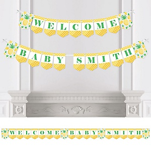 Tropical Pineapple - Personalized Summer Baby Shower Bunting Banner and Decorations
