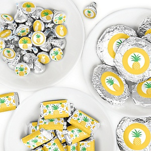 Tropical Pineapple - Mini Candy Bar Wrappers, Round Candy Stickers and Circle Stickers - Summer Party Candy Favor Sticker Kit - 304 Pieces