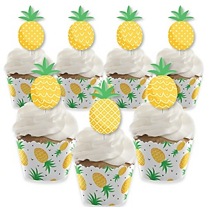 Tropical Pineapple - Cupcake Decoration - Summer Party Cupcake Wrappers and Treat Picks Kit - Set of 24