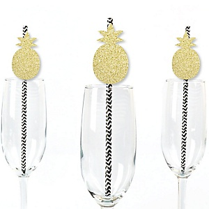 Gold Glitter Pineapple Party Straws - No-Mess Real Gold Glitter Cut-Outs and Decorative Frutti Summer Baby Shower or Birthday Party Paper Straws - Set of 24