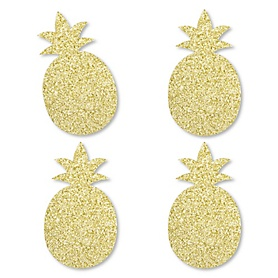 Gold Glitter Pineapple - No-Mess Real Gold Glitter Cut-Outs - Frutti Summer Baby Shower or Birthday Party Confetti - Set of 24