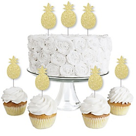 Gold Glitter Pineapple - No-Mess Real Gold Glitter Dessert Cupcake Toppers - Frutti Summer Baby Shower or Birthday Party Clear Treat Picks - Set of 24