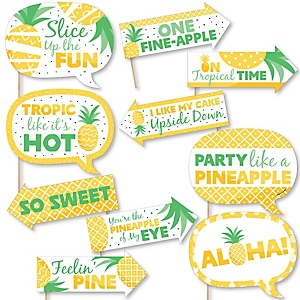 Funny Tropical Pineapple - 10 Piece Summer Party Photo Booth Props Kit