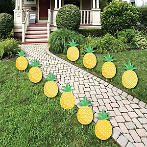 Tropical Pineapple - Lawn Decorations - Outdoor Summer Party Yard Decorations - 10 Piece