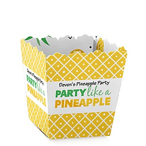 Tropical Pineapple - Party Mini Favor Boxes - Personalized Summer Party Treat Candy Boxes - Set of 12