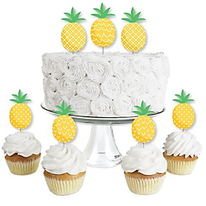 Tropical Pineapple - Dessert Cupcake Toppers - Summer Party Clear Treat Picks - Set of 24