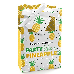 Tropical Pineapple - Personalized Summer Party Favor Boxes - Set of 12