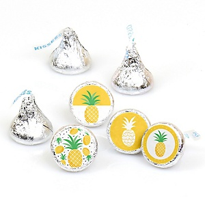 Tropical Pineapple - Summer Party Round Candy Sticker Favors - Labels Fit Hershey's Kisses - 108 ct