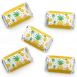 Tropical Pineapple - Mini Candy Bar Wrapper Stickers - Summer Party Small Favors - 40 Count