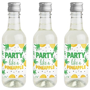 Tropical Pineapple - Mini Wine and Champagne Bottle Label Stickers - Summer Party Favor Gift - For Women and Men - Set of 16