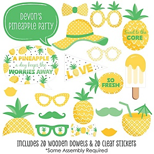 Tropical Pineapple - 20 Piece Summer Party Photo Booth Props Kit