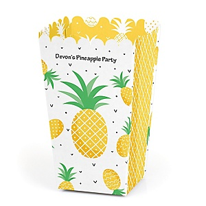 Tropical Pineapple - Personalized Summer Party Favor Popcorn Treat Boxes - Set of 12