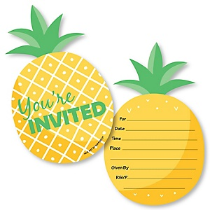 Tropical Pineapple - Shaped Fill-In Invitations - Summer Party Invitation Cards with Envelopes - Set of 12