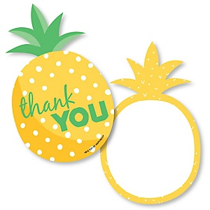 Tropical Pineapple - Shaped Thank You Cards - Summer Party Thank You Note Cards with Envelopes - Set of 12