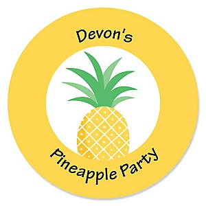Tropical Pineapple - Summer Party Circle Sticker Labels - 24 ct