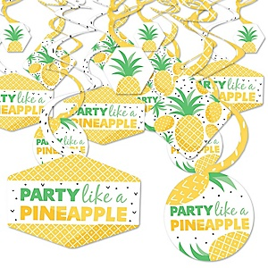 Tropical Pineapple - Summer Party Hanging Decor - Party Decoration Swirls - Set of 40