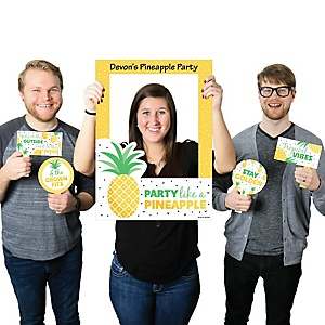 Tropical Pineapple - Personalized Summer Party Selfie Photo Booth Picture Frame and Props - Printed on Sturdy Material