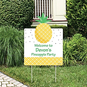 Tropical Pineapple - Party Decorations - Summer Party Personalized Welcome Yard Sign