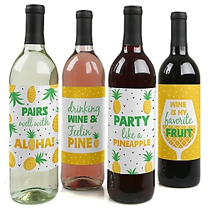 Tropical Pineapple - Summer Birthday Party Decorations for Women and Men - Wine Bottle Label Stickers - Set of 4
