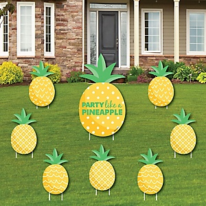 Tropical Pineapple - Yard Sign and Outdoor Lawn Decorations - Summer Party Yard Signs - Set of 8