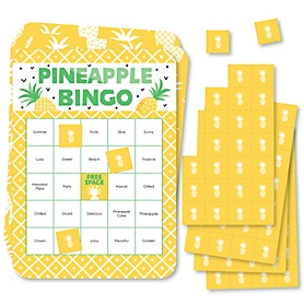 Tropical Pineapple - Bingo Cards and Markers - Summer Party Bingo Game - Set of 18
